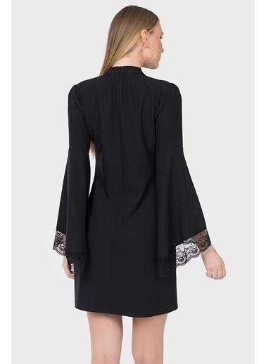 İroni İspanyol Kol Dantel Detaylı Elbise Siyah